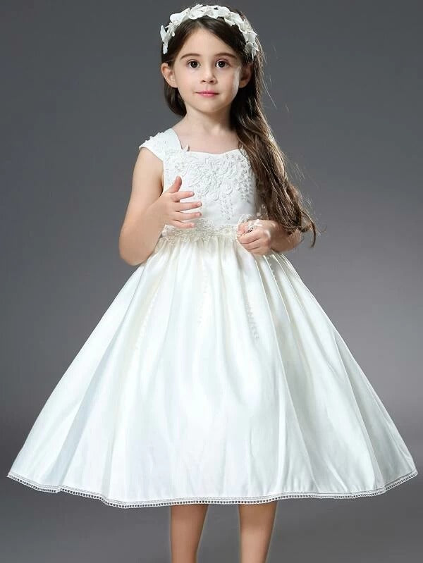 Girls Tie Back Pearl Beaded Appliques Satin Party Dress