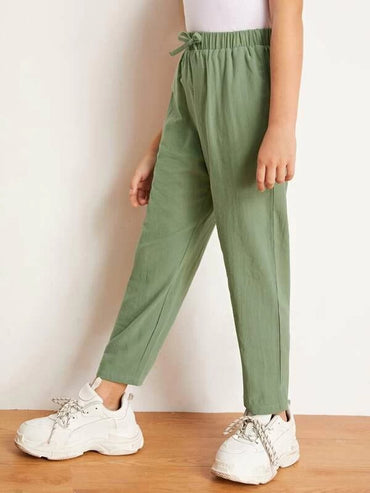 Girls Tie Waist Solid Pants