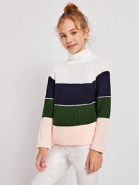 Girls Turtle Neck Raglan Sleeve Colorblock Sweater