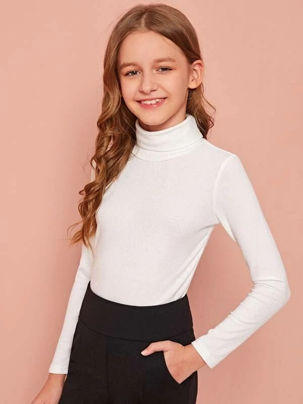 Girls Turtle Neck Rib-knit Top