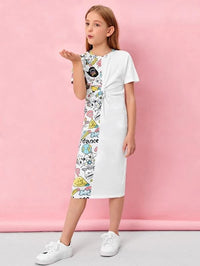 Girls Twist Front Pop Art Print Dress