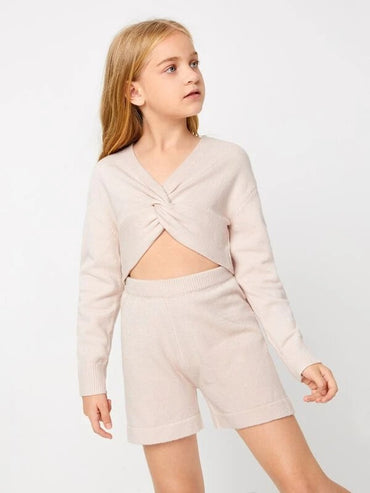 Girls Twist Front Sweater and Knit Shorts Set