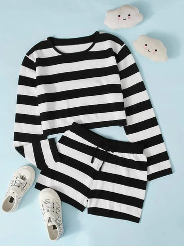 Girls Two Tone Striped Sweater & Shorts Set
