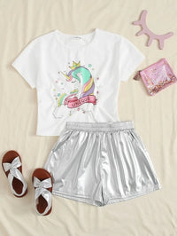 Girls Unicorn Print Tee and Slant Pocket Metallic Shorts Set