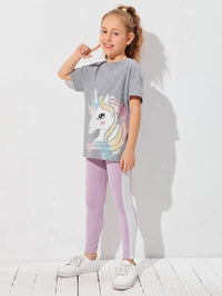 Girls Unicorn Print Top & Leggings Set