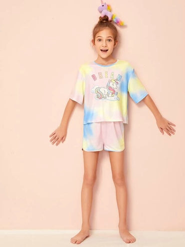 Girls Unicorn & Letter Graphic Tie Dye Top And Shorts PJ Set