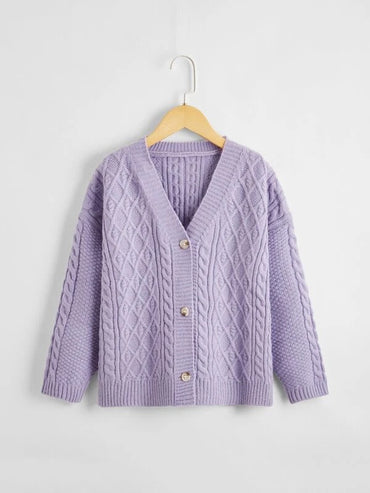 Girls V-neck Button Front Rib & Cable Knit Cardigan