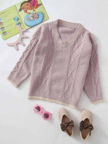 Girls V-neck Cable Knit Sweater