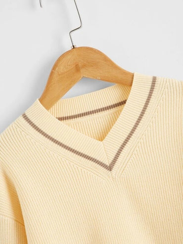 Girls V-neck Contrast Piping High Low Sweater