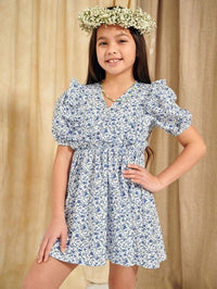 Girls V-neck Puff Sleeve Ruffle Detail Ditsy Floral Dress