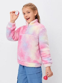 Girls Zip Half Placket Tie Dye Teddy Sweatshirt