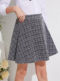 Girls Zipper Flare Tweed Skirt