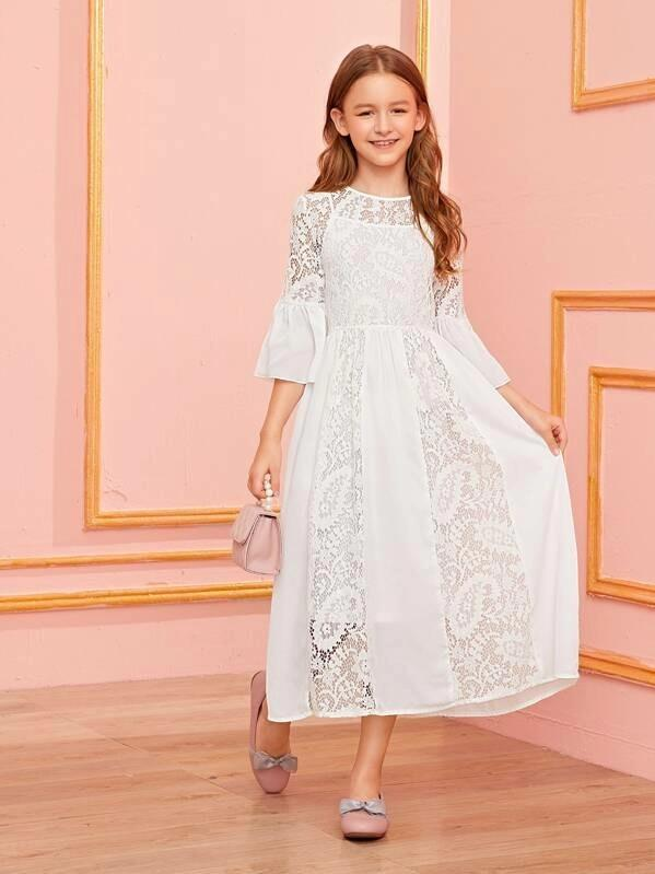Girls 2 In 1 Flounce Sleeve Lace Belted Dress
