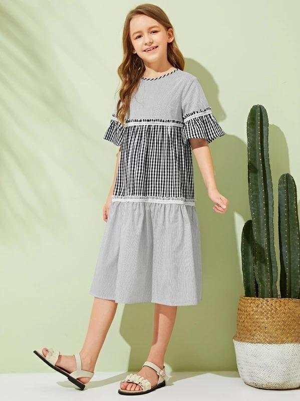 Girls 2 In 1 Frill Trim Gingham & Striped Print Dress