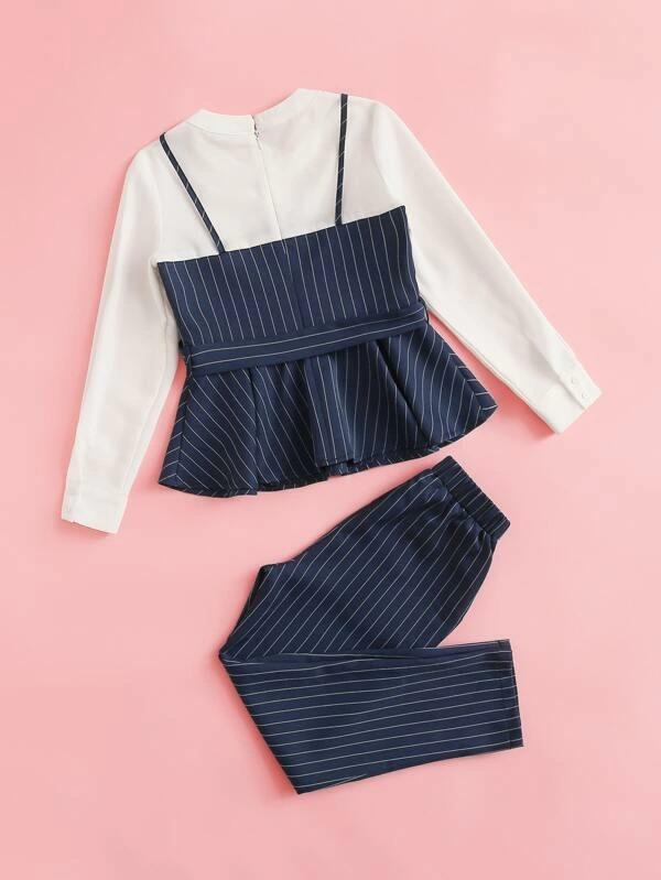 Girls 2 In 1 Striped Top & Pants Set
