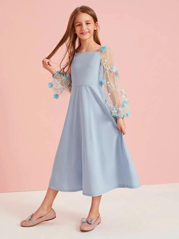 Girls 3D Applique And Embroidered Mesh Bishop Sleeve Dress