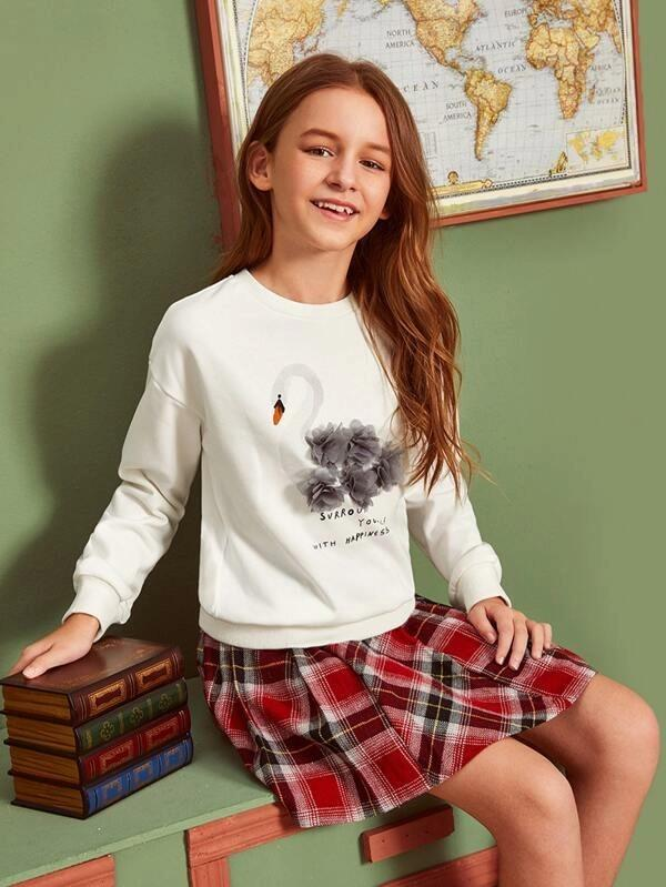 Girls 3D Applique Swan And Slogan Graphic Sweatshirt