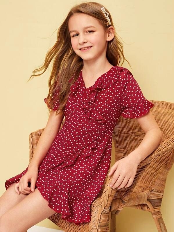 Girls Allover Heart Print Ruffle Trim Dress