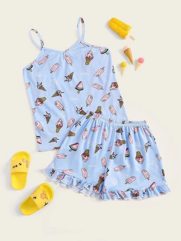 Girls Allover Ice Cream Ruffle Cami PJ Set