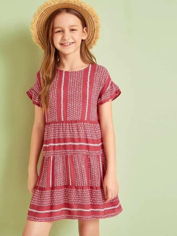 Girls Allover Print Ruffle Cuff Dress