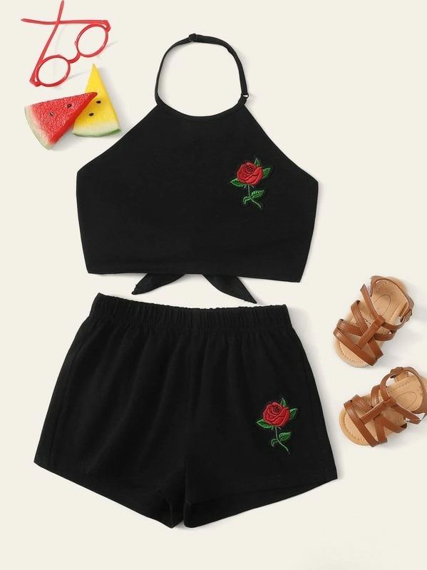 Girls Appliques Knot Back Top & Shorts Set