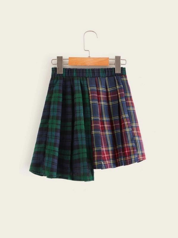 Girls Asymmetrical Hem Letter Print Tartan Skirt