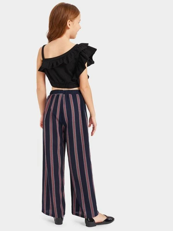 Girls Asymmetrical Shoulder Ruffle Top & Belted Striped Pants Set