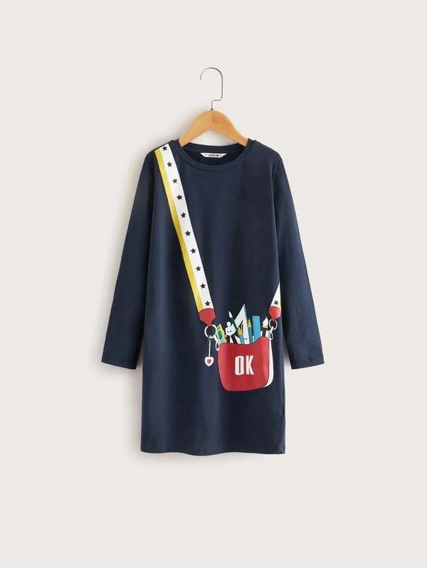 Girls Bag Print Tee Dress