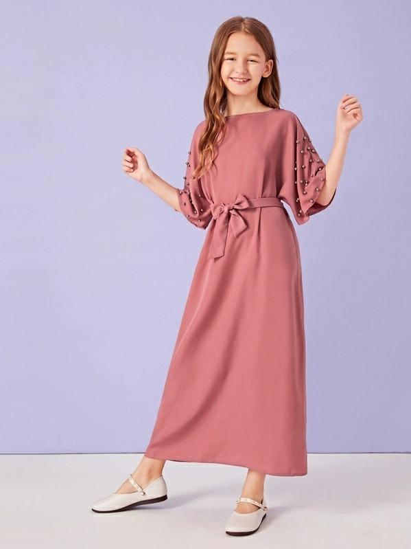 Girls Beaded Batwing Sleeve Belted Dress