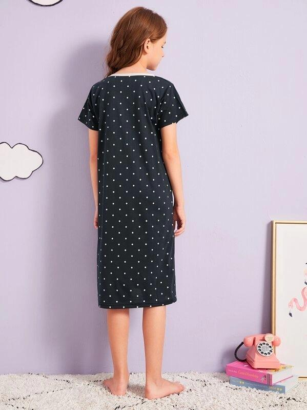 Girls Bear Print Polka Dot Night Dress