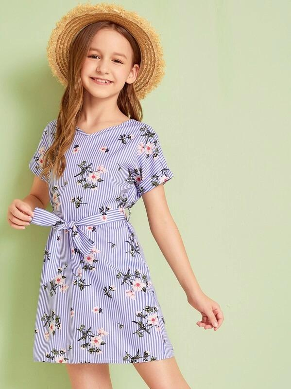 Girls Belted Floral And Striped Print Dress