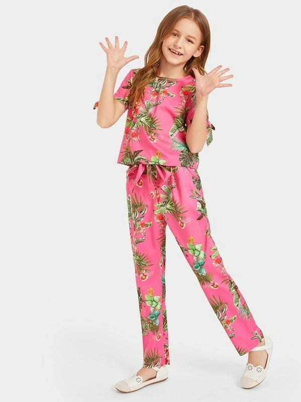 Girls Bow Cuff Tropical Print Top & Belted Pants Set