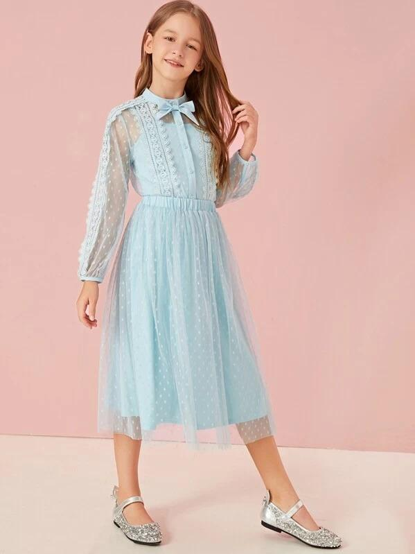 Girls Bow Detail Dobby Mesh Overlay Top & Skirt Set