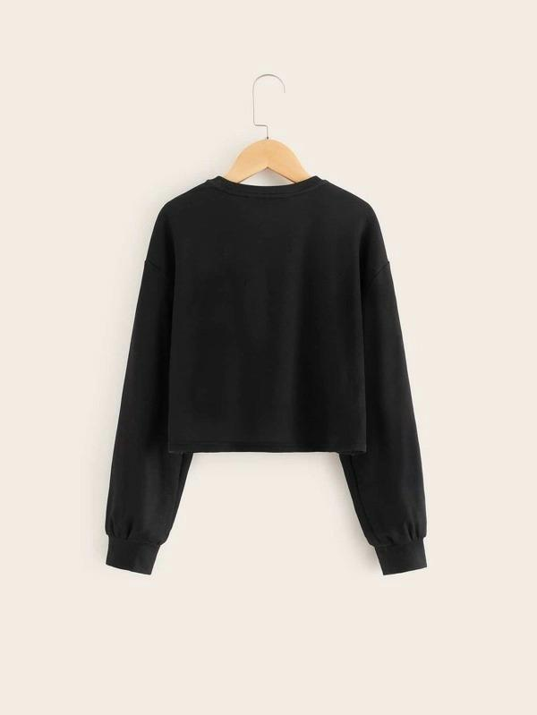 Girls Bow Detail Figure Graphic Pullover