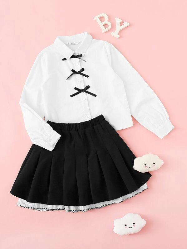 Girls Bow Embellished Blouse & Boxed Pleated Skirt
