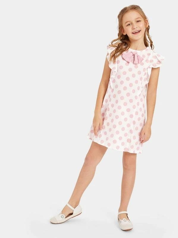 Girls Bow Embellished Polka Dot Print Ruffle Dress