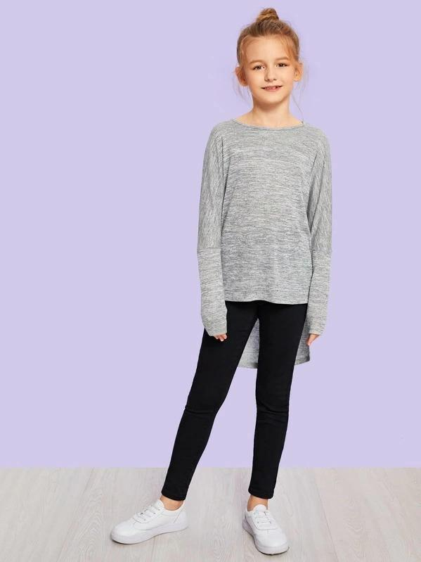 Girls Bow Front Curved Hem Tee