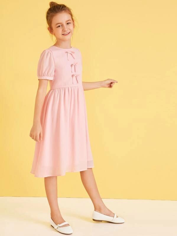 Girls Bow Front Flare Dress
