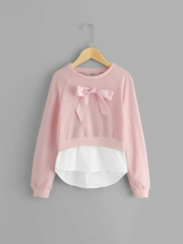 Girls Bow Front Raglan Sleeve Pullover