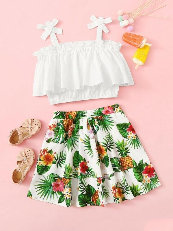 Girls Bow Strap Flounce Top & Tropical Skirt Set