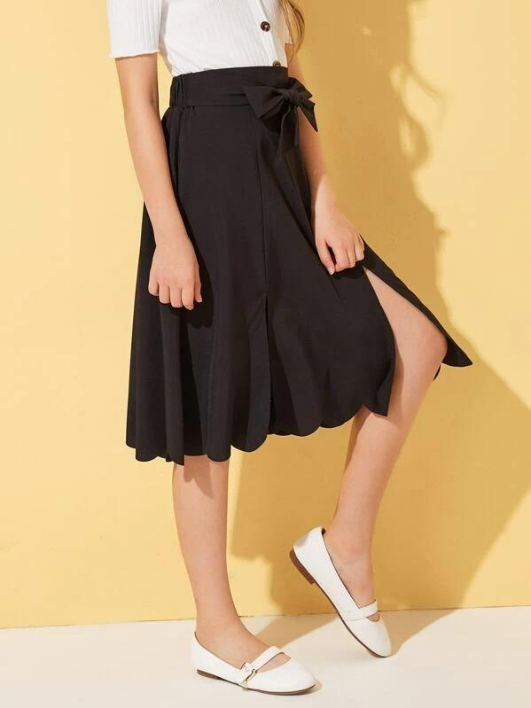 Girls Bow Tie Waist Scallop Edge Split Skirt