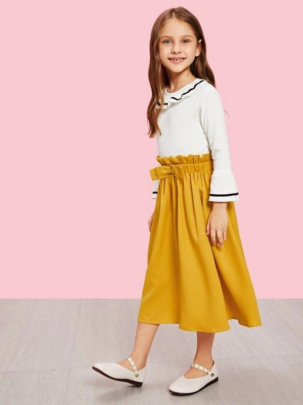 Girls Bow Waist Flare Skirt