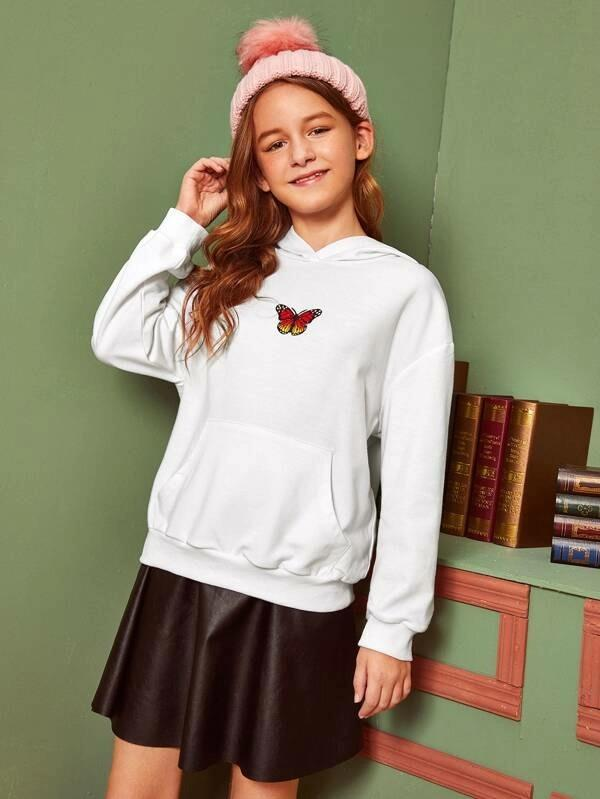 Girls Butterfly Print Pocket Front Hoodie