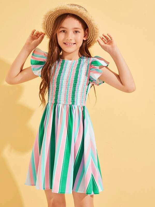 Girls Butterfly Sleeve Shirred Striped Dress