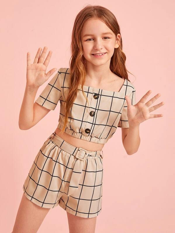 Girls Button Detail Grid Top And Buckle Belted Shorts Set