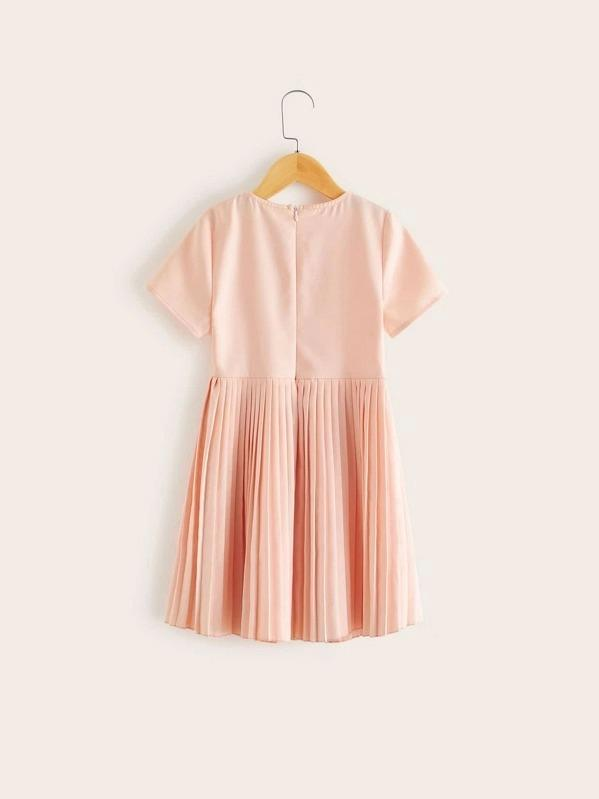 Girls Button Detail Pleated Flare Dress