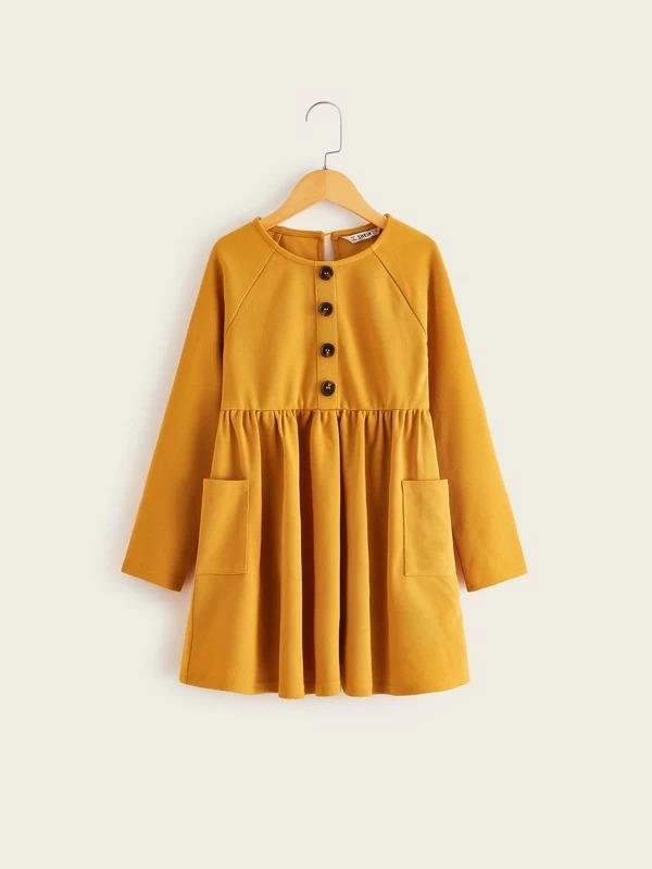 Girls Button Detail Pocket Front Raglan Sleeve Dress