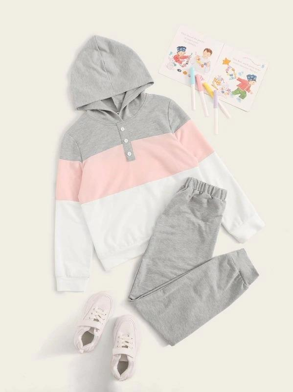 Girls Button Front Colorblock Hoodie & Sweatpants Set