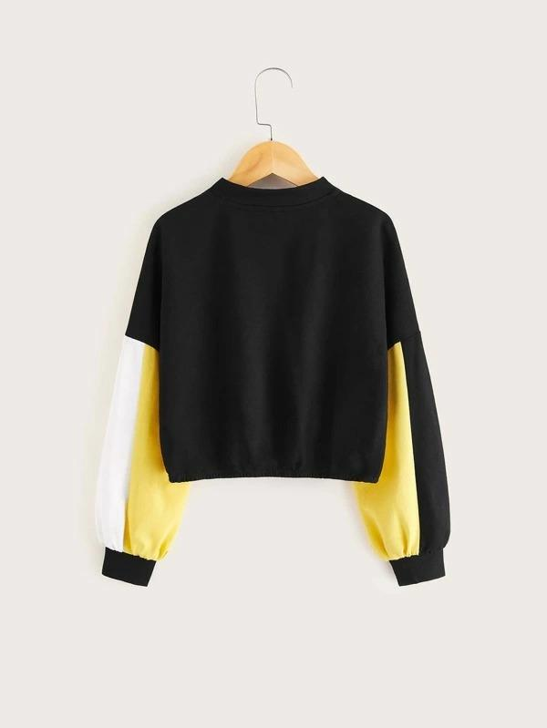 Girls Button Front Colorblock Sweatshirt