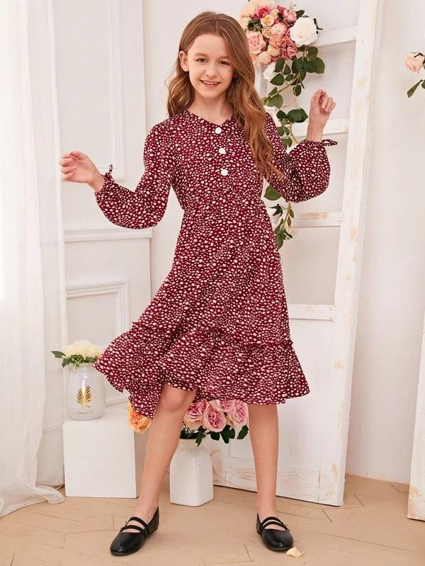 Girls Button Front Dalmatian Print Flounce Hem Dress